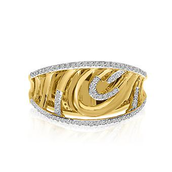 14k Yellow Gold Diamond Accent Wave Ring