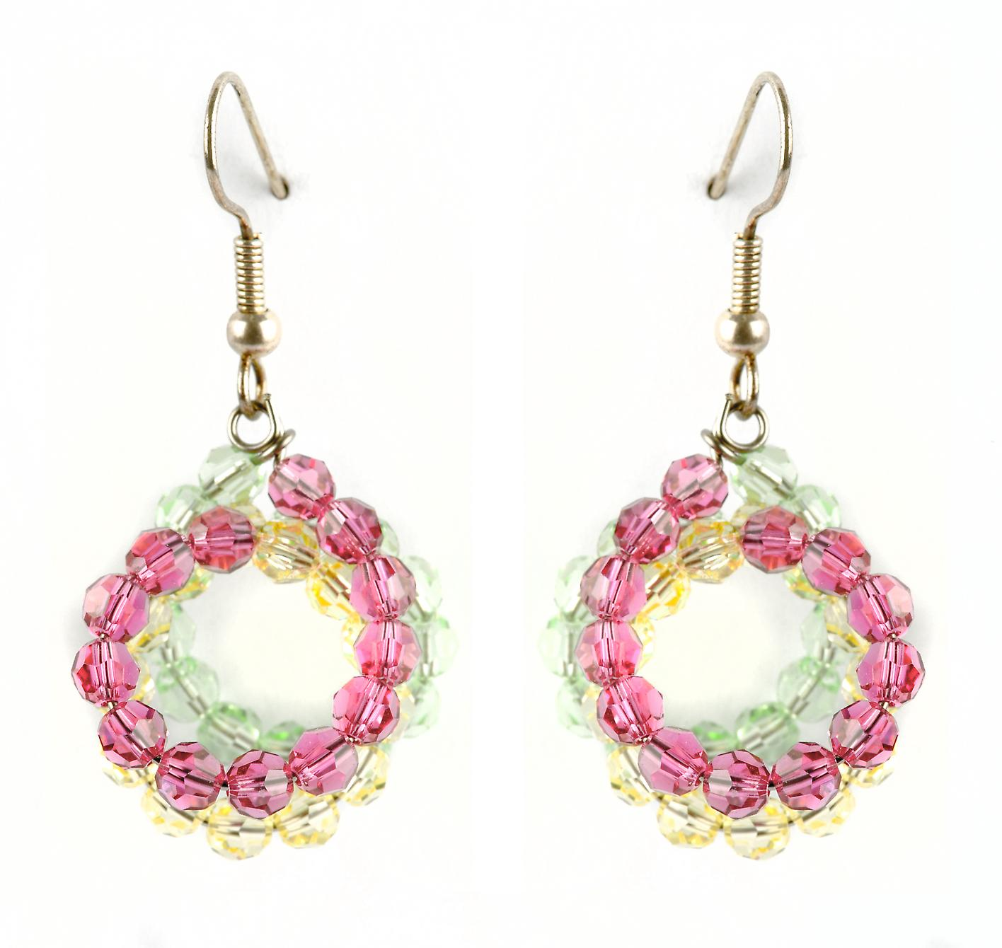 Waooh - Fashion Jewellery - WJ0741 - On Earrings with Swarovski Pink White & Green