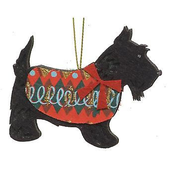 Gisela Graham Christmas Tree Decoration 13946 Felt Scottie Dog Gisela Graham