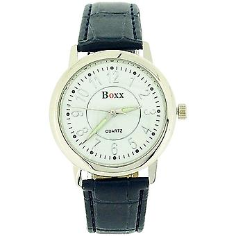 Boxx Analogue Blue Crocodile Leather Effect Strap Gents Dress Watch