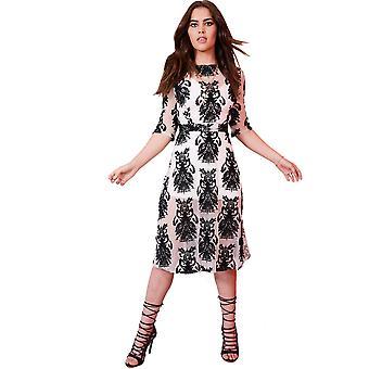 Lovemystyle vit Bodycon klänning med blommigt Mesh Overlay