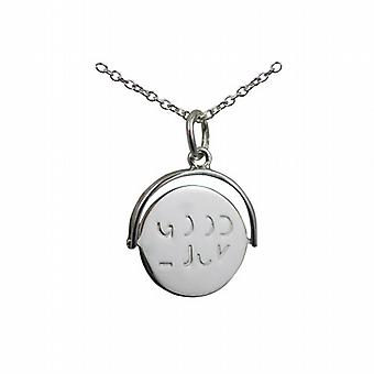 Silver 15x16mm round Good Luck spinning disc Pendant with a rolo Chain 14 inches Only Suitable for Children