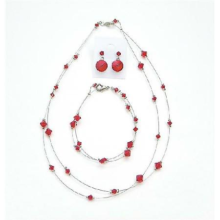 Custom Jewelry Lite Siam Red Attire Affordable Crystal Jewelry