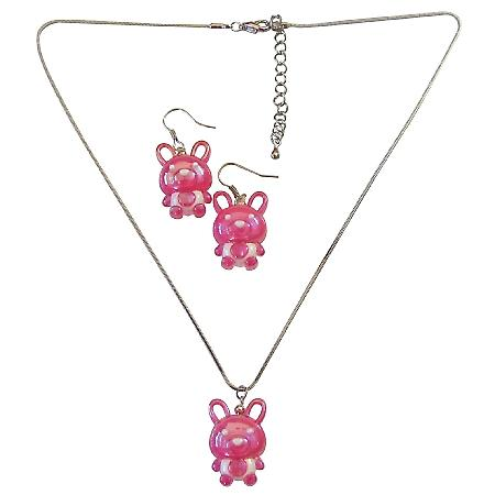 Fuchsia Rabit Easter Jewelry Set Necklace & Earrings Cute Easter Gift
