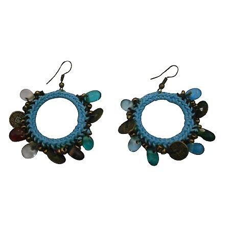Affordable Hand Knitted Blue Thread Crochet Round Shaped Earrings