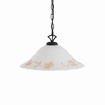 Ideal Lux - Foglia Black Large Single Pendant With White Decorated Glass IDL021430