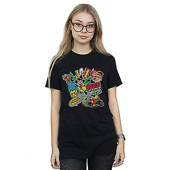 Jóvenes Titanes de DC Comics mujeres van novio Robin montaje ajuste t-shirt