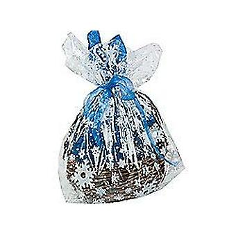12 Large Snowflake Cellophane Christmas Party Bags or Basket Wraps