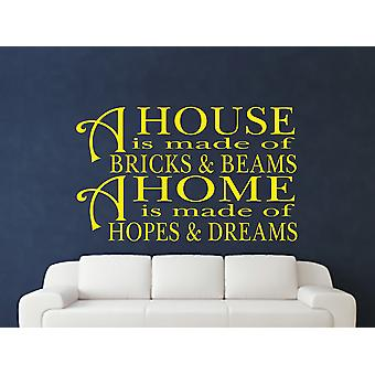 A House Is Made Of Bricks And Beams v2 Wall Art Sticker - Bright Yellow