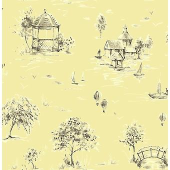 Sophie Conran Wallpaper Creme Brulee Cream Soft Yellow Heavyweight Designer