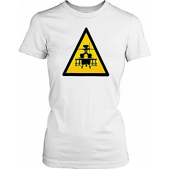 Apache Silhouette on Yellow Triangle Ladies T Shirt