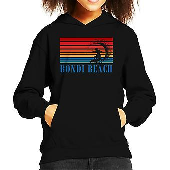 Bondi Beach Retro 70s Surf Silhouette Kid's Hooded Sweatshirt