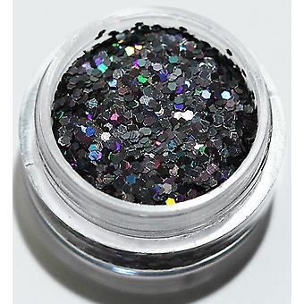 1. Sechseck glitter schwarz Regenbogen