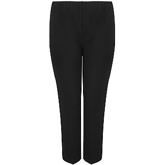 Pull-on ribbed bootleg trousers