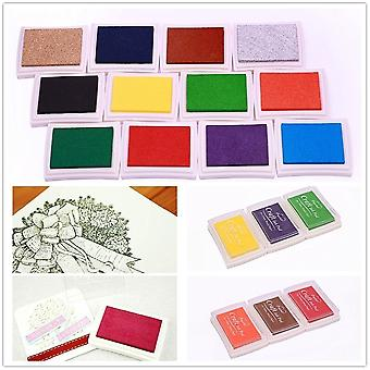 12x Ink Stamp Pads - Finger Pressure Ink Art for Paper Scrapbook Painting Art DIY Craft - 12 Colours