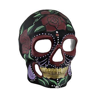 Black Skull Red Roses Day Of Dead Sugar Skull Mask