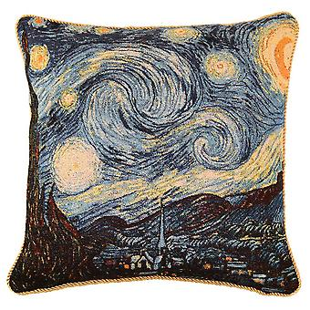 Van gogh - starry night cushion cover by signare tapestry / 18in x 18in / ccov-art-vangogh-1