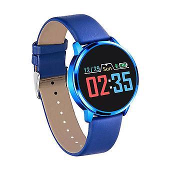 Stuff Certified® Original Q8 Smartband sport SmartWatch smartphone horloge OLED iOS Android blauw leder
