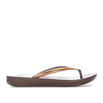 Womens Fitflop Iqushion Mirror Ergonomic Flip Flops In Bronze