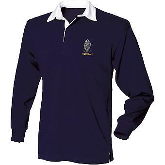 Royal Ulster Rifle RUR Veterano - Camisa de rugby de manga larga bordada del ejército británico con licencia