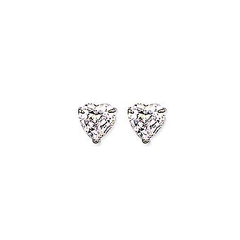 Jewelco London Rhodium Plated Sterling Silver Heart Cubic Zirconia Love Heart Solitaire Stud Earrings 9mm