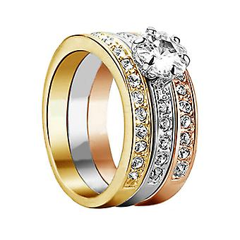 18K Gold Plated 3 Paved 3 Color Cubic Zircoina Ring Set