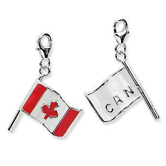 925 Sterling Silver Reversible Rhodium-plaqué Fancy Lobster Closure 3-d Enameled Canadian Flagw Lobster Clasp Charm - Me