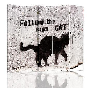 Room Divider, 5 Panels, Double-Sided, 360 ° Rotatable, Canvas, Folow The Black Cat