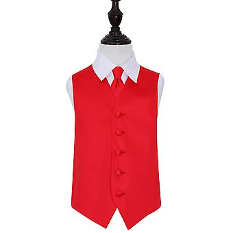 Boy's Red Plain Satin Wedding Waistcoat & Tie Set