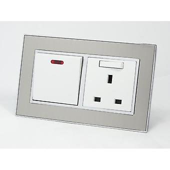 I LumoS AS Luxury Satin Silver Metal Double 20A Switch with Switched 13A UK Socket