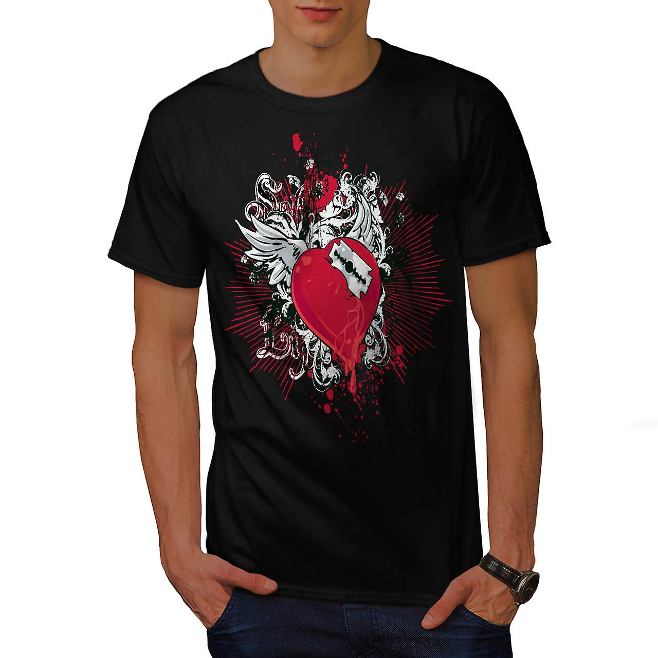 Broken Heart Cool Fashion Men Black T-shirt | Wellcoda
