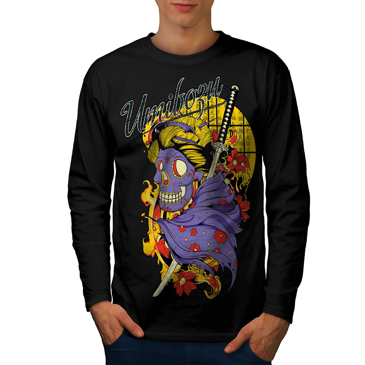 Umibozu Spirit Cool Skull Men Black Long Sleeve T-shirt | Wellcoda