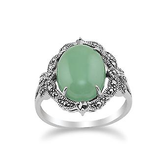 925 Sterling Silver Art Nouveau Green Jade & Marcasite Statement Ring