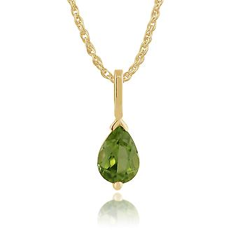 9 kt gul guld 0,66 ct pære Cut Peridot enkelt sten vedhæng på kæde