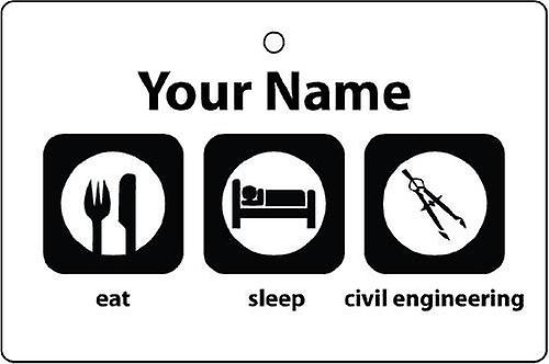 Personalised Eat Sleep Civil Engineering Car Air Freshener