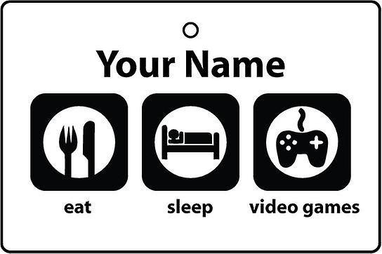Personalised Eat Sleep Video Games Car Air Freshener