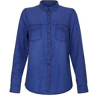 New Look Women's Casual Blue Denim Button Up Shirt