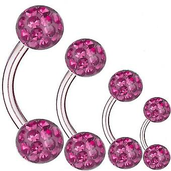 Curved Barbell Titanium, Thickness 1,6 mm, Multi Crystal Ball Pink | 6 - 16 mm