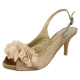 Ladies Anne Michelle Peep Toe Flower Detail Heels
