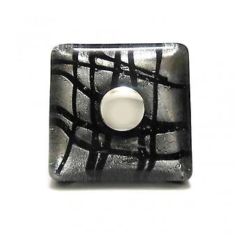 Murano Hand Blown Glass Square Black & Silver Cupboard Knob