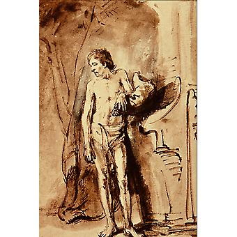 Rembrandt Harmenszoon van Rijn - Standing Male Nude Poster Print Giclee