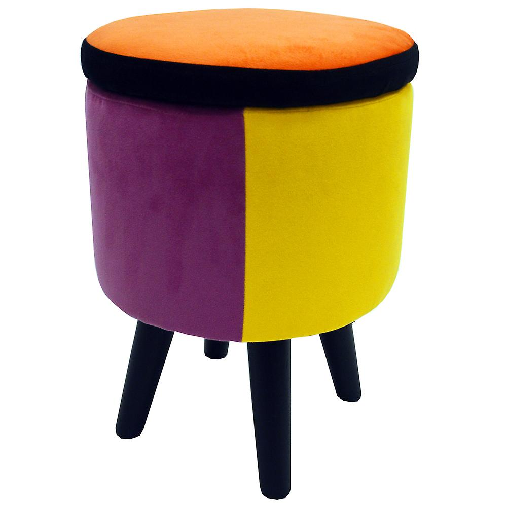 Soleil - Contemporary Retro Round Padded Storage Stool - Orange / Blue / Pink / Yellow