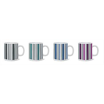 Set of 4 Porcelain Mugs Stripe Design Ideal for Home and Office Kitchen Modern
