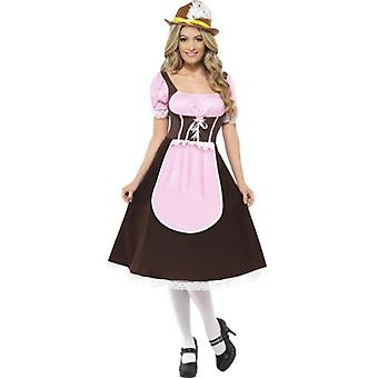 Smiffys Tavern Girl Costume Brown Long Dress With Attached Apron (Costumes)