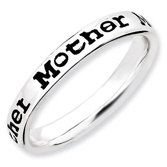 Sterling Silver Stackable Expressions Polished Enameled Mother Ring - Ring Size: 5 to 10