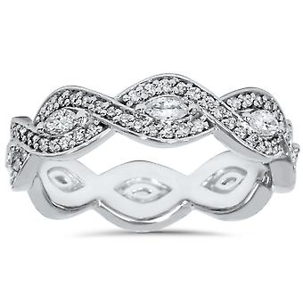 3/4ct Marquise & Diamond Stackable Infinity Eternity Ring 14K White Gold