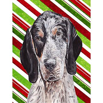 Blue Tick Coonhound Candy Cane Christmas Flag Garden Size