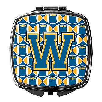 Carolines Treasures  CJ1077-WSCM Letter W Football Blue and Gold Compact Mirror
