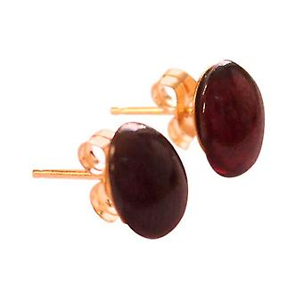 Gemshine - ladies - earrings - gold plated - garnet - red - dark - red cabochon - 8 mm