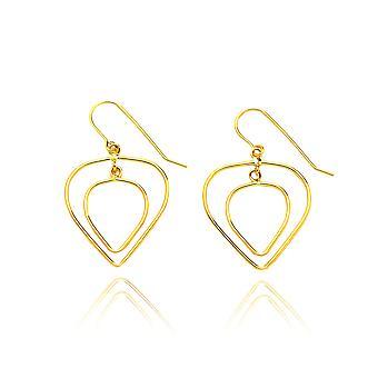 14 k gul guld Double Heart kærlighed dråbe øreringe med fiskekrog i gaveæske